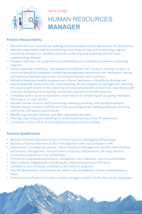 Recruitment - HUMAN RESOURCES MANAGER